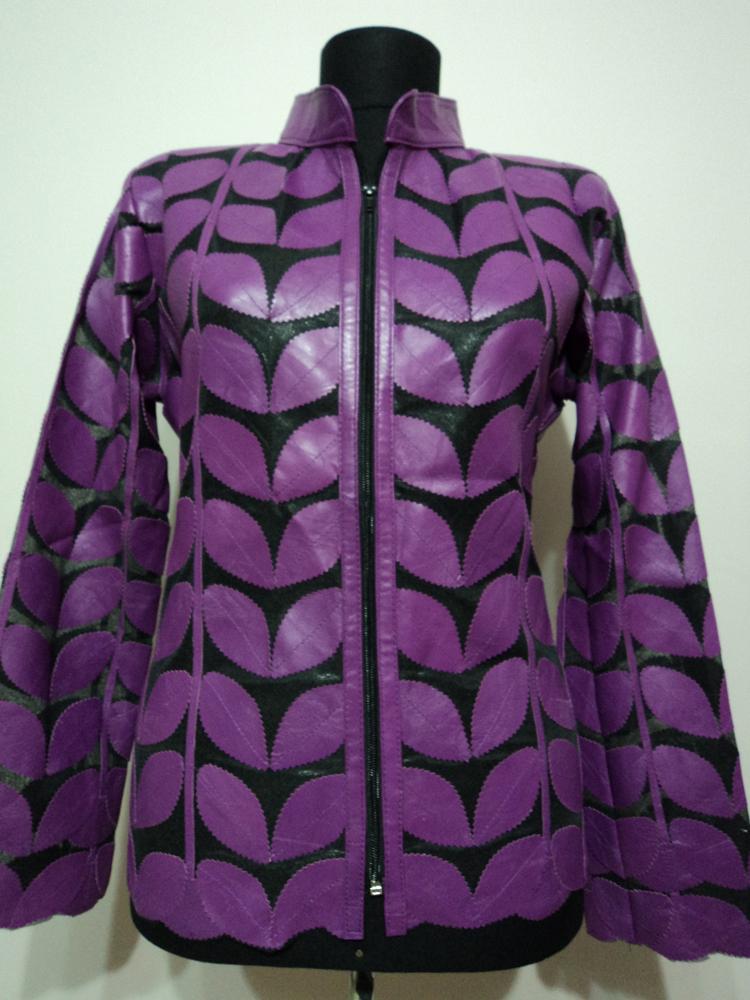 Womens purple leather leaf jacket xl 1