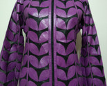 Womens purple leather leaf jacket xl 1 thumb155 crop