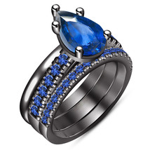 14k Black Gold Plated 925 Silver 3Pcs Wedding Ring Set Pear Shape Blue Sapphire - $143.25