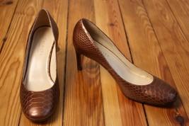Talbots 8.5 B Bronze Leather Embossed Croc Round Toe Heels Pumps - $24.70