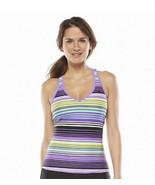 ZeroXposur Swim Racerback Swimwear Tankini Top Purple Striped Size 10 MS... - $19.99