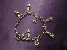 Brighton Enamel Sandal Charms W/ Beads Chain Link Bracelet W/ Tin - $34.65