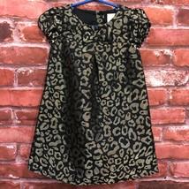 Gymboree 3T Toddler Girl Black Gold Jacquard Party Dress Metallic Leopar... - $22.99