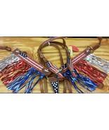 BLING! WESTERN SADDLE HORSE AMERICAN FLAG BRIDLE + BREAST COLLAR TACK SET - $96.80