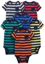 Simple Joys by Carter's Baby Boys' 6-Pack Short-Sleeve Bodysuit, Stripes... - $23.75