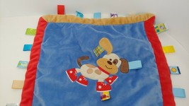 Taggies tan puppy dog red shoes sneakers blue security Blanket baby lovey satin - $9.89