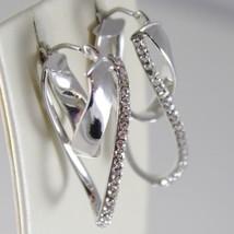 White Gold Earrings 750 18k Double Oval Corrugated Circle, 3.2 CM, Zirconia image 2