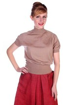Gino Paoli Vintage Womens Sweater  Tan Wool Wide Waist Band 1940s Italy M - $45.50