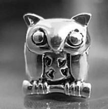 SALE Owl Charm European bead jewelry Sterling Silver 925 - $21.84