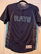 MLB TAMPA BAY RAYS TRUE FAN BOY'S MEDIUM NAVY POLYESTER JERSEY  - $14.97