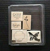 Stampin' Up Rubber Stamp Set Great Friend Friendship Butterfly Retired 5... - $12.68