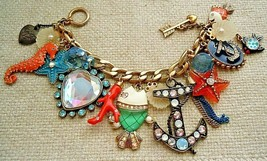 Betsey Johnson Under The Sea Charm Bracelet, SeaHorse, Fish Cyrstal Anch... - $33.66