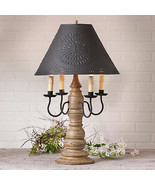 Large Colonial Table Lamp with Punched Tin Shade - Textured Pearwood Fin... - $411.45