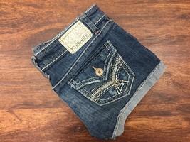 HYDRAULIC Cuffed Low Rise Dark Wash Blue Denim Jean Shorts Women's Size ... - $23.06