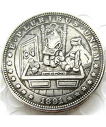 Hobo Nickel 1891  Morgan Dollar  Scrooge McDuck Time is Money Casted Coin - $9.49
