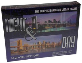 2 Puzzles Night Day City New York City 500 Pc Panoramic Jigsaw Puzzles 2... - $4.99