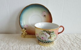 Antique Handpainted CT Altwasser Silesia Ornate Tea Cup And Saucer Roses... - $24.99