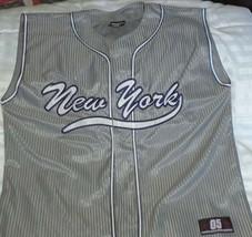 New York Sports Shirt Jersey Sleeveless Gray White Blue Size M - £21.93 GBP