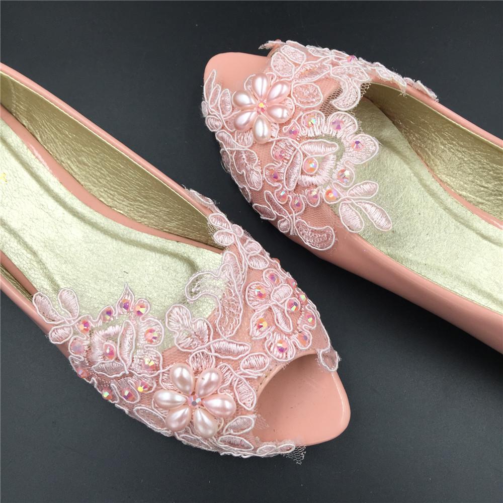 bridesmaid wedding flipflop,flat pink lace shoes,blush ...