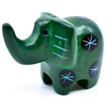 Tabaka Chigware Hand Carved Kisii Soapstone Miniature Green Elephant Figurine image 2