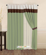 4-Pc Striped Solid Modern Curtain Set Sage Green Brown Beige Valance Lin... - $30.74