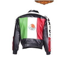 Mens Leather Mexican Leather Flag Jacket S 2X 3X 4X - $123.70+