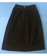 Vintage L.L. Bean Black Corduroy Skirt May Fit 2 4 6 Long Pleated Soft - $19.79