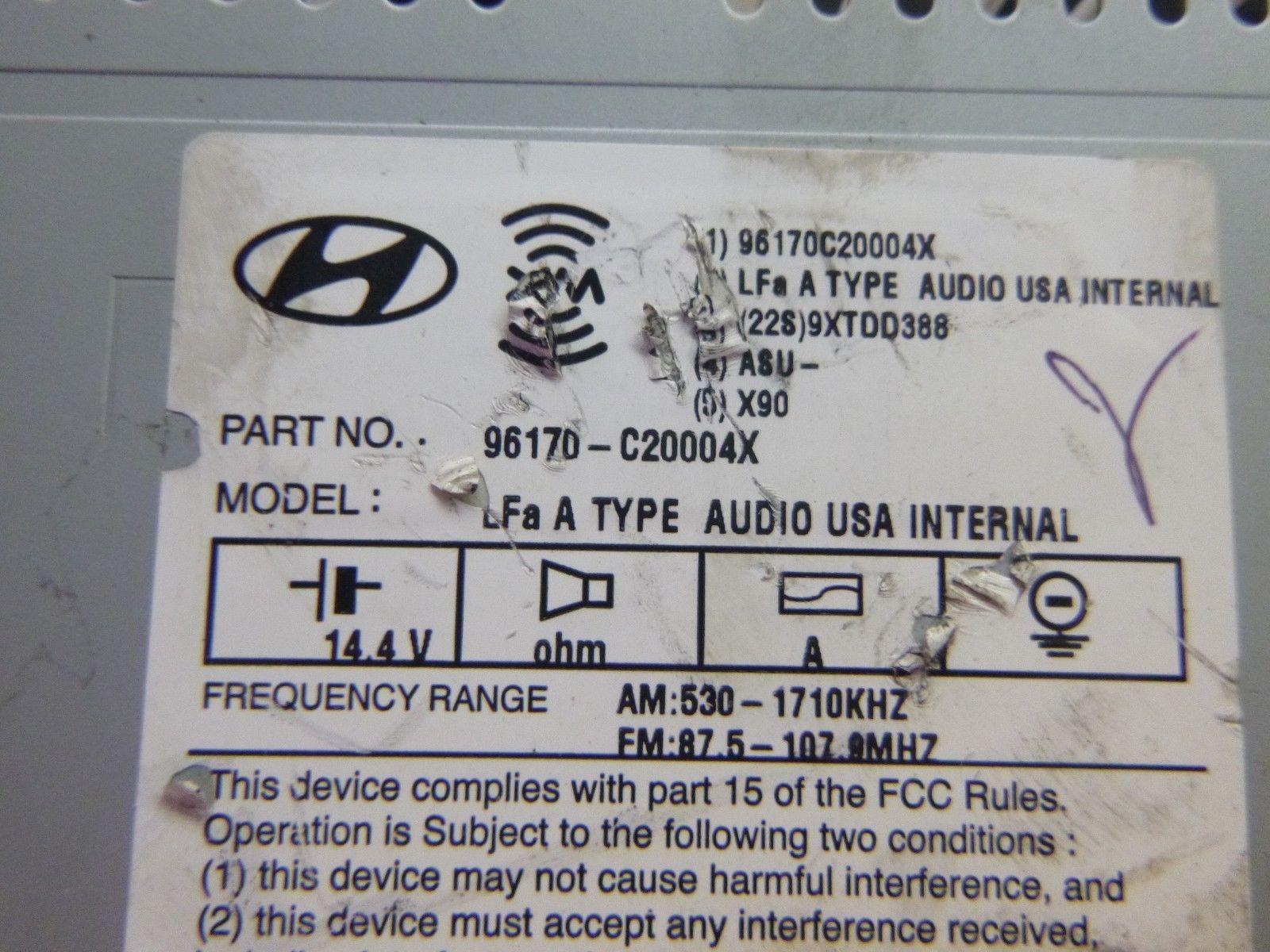 15 16 17 Hyundai Sonata Radio Cd MP3 Player 96170-C20004X PAB717