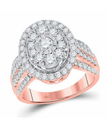 14kt Rose Gold Round Diamond Oval Bridal Wedding Engagement Ring 1-1/2 Ctw - £1,430.23 GBP