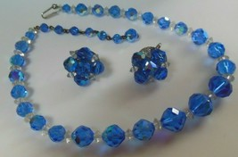 Vintage Designer Signed JONNE Blue & Clear Faceted Crystal Necklace & Ea... - $94.05
