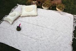 Ivory Color Handloom Chic Blanket, Sofa Throw, Cotton Handmade Throw Bla... - €53,47 EUR