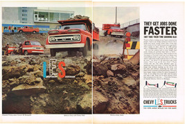 Vintage 1961 2-Page Magazine Ad Chevrolet Trucks Work Harder Because Rid... - $5.93