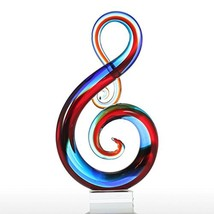 Tooarts Music Note Glass Sculpture Home Decor Ornament Gift Craft Decora... - $116.29