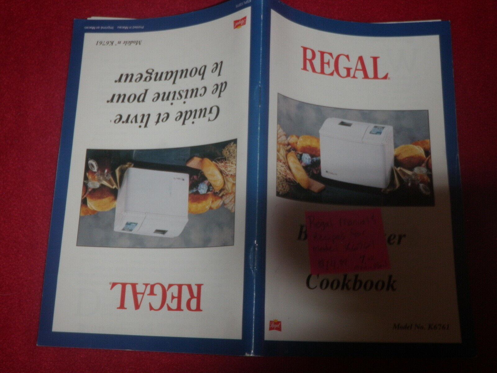 Regal Bread Maker Machine Manuel and Recipes for Model K6761  image 4