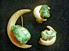 BSK Vintage Pin Brooch Earrings Crescent Moon & Jade Jadeite Stones - $49.45