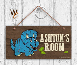 Blue Dinosaur Sign, Personalized Sign, Kid's Name, Kids Door Sign, 5x10 ... - $16.29