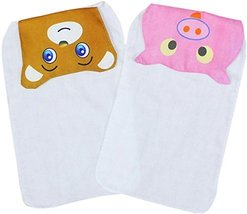 2 Lovely Bear/Pig Baby Cotton Gauze Towel Wipe Sweat Absorbent Cloth Mat Towels image 1