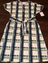 NWT LuLaRoe Large Green Blue White Plaid Marly with Pockets & Sash Dress - $34.64