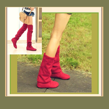 Tall Red Faux Suede Over the Knee Boot Low Heel with DiVA Turn Down Top   - ₨4,006.92 INR