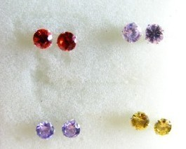 Cubic Zirconia  925 sterling silver 4 mm round cut Earrings 4 pair 4 colors