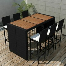 vidaXL Garden Bar Set 13 Piece Poly Rattan Wicker Acacia Wood Outdoor Table - $665.99