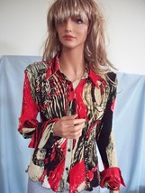 NEW MEDIUM DRESS U RIBBED POLYESTER TEE T SHIRT TOP KNIT BUTTON DOWN  BL... - $18.98