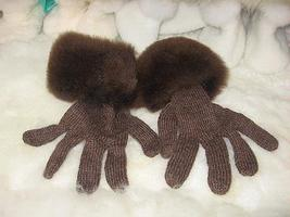 Brown gloves,made of Babyalpaca wool and fur,mittens  - $56.00
