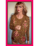 NEW SMALL SOFT AVON ROSE ANIMAL LEOPARD PRINT SWEATER KNIT TUNIC 2 FOR C... - $19.79