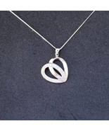 New 14k White Gold On 925 Sterling Silver Simple Heart Shape CZ Stones P... - $32.73