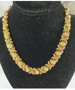 Signed IVANA Gold Tone Necklace Faux Pearl Rhinestone Hugs and Kisses X'... - $94.99