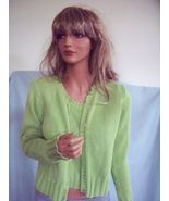SMALL REAL COMFORT GREEN 2 PC COTTON SWEATER SET SHIRT TOP PULLOVER BLOU... - $39.59
