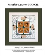 Monthly Squares March cross stitch card chart Linda Jeanne Jenkins - $6.00