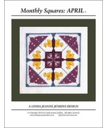 Monthly Squares April cross stitch card chart Linda Jeanne Jenkins - $6.00