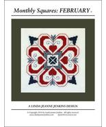 Monthly Squares February cross stitch card chart Linda Jeanne Jenkins - $6.00